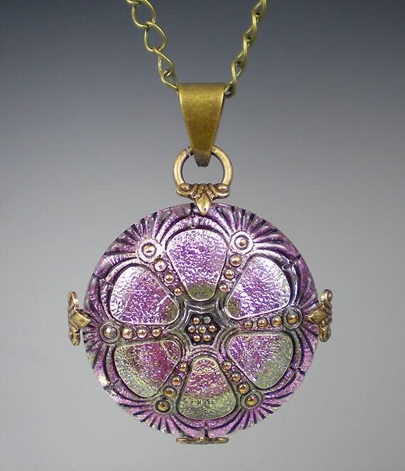 Lavender Glass Button Necklace Czech Glass Button Oxidized Brass Vintage Inspired Jewelry