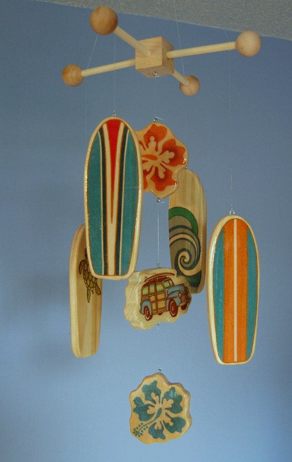 Baby Crib Mobile - Baby Mobile - Surf or Beach Baby Nursery - Woody Car and Surf Boards (Bright Beach Colors)