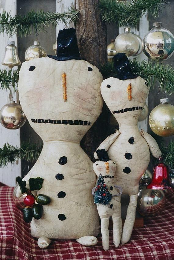 Snowman Doll Pattern Primitive Christmas Snowmen EPattern PDF