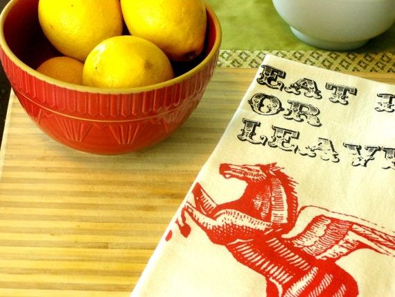 Kitchen towel housewares pegasus tea towel retro indie decor screen printed hostess present kitchen gifts holiday decor