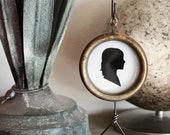 Custom Silhouette . Framed Art . Hanging Display . Simple Antique Brass