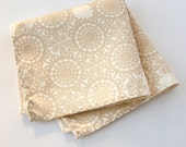 Cottage Lace pocket square. Silkscreened men's handkerchief. Warm cream or ivory print. Your choice of fabric color. Customizeable!