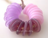 Lampwork Glass Disc Beads - ROSEY Pastel PINK TRIO Wavy Disk Set - crocus, plum, and pink - taneres