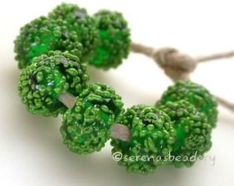 8 LIME Green FROST Sugar frit - Handmade Lampwork Glass Bead Set - taneres - 12 mm