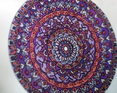 Mandala Suncatcher in Purple and Orange - Bohemian Home Decor - Window Decor - Geometric Psychedelic
