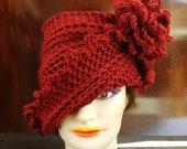 Hand Crochet Hat Womens Hat, LAUREN Crochet Cloche Hat with Flower, Womens Winter Hat, Autumn Red Hat, Red Hat Ladies
