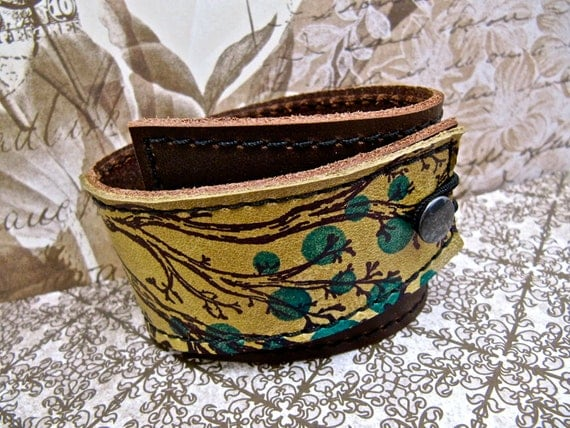 Leather Cuff Bracelet Wrap, Twiggy Print in Brown & Citrine Green - SALE - see Shop for Coupon Codes...