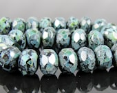 CLOSEOUT SALE for  Czech Glass Faceted Gemstone Donut-Jet Black Full Coat Picasso 9x6mm-25 Beads