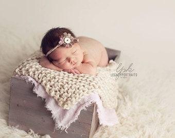 Prop Blanket cream knit newborn photography prop basket bucket bowl filler stuffer