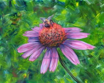 Bumblebee on Echinacea, Art Print of Acrylic Painting