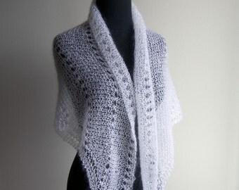 Custom Made Hand Knit Lace Shawl, Bridal Wedding, Wrap Scarf Veil Mantilla, White, Mohair Silk, Women's Accessory, FREE SHIPPING