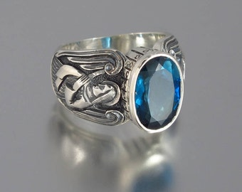 GUARDIAN ANGELS Mens silver ring with London Blue Topaz (sizes 8 to 14)