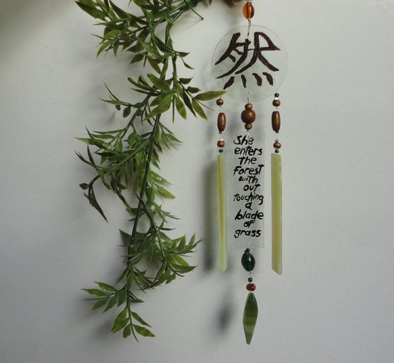 SALE, Mother Nature Forest, Wind Chimes, Hand Painted Riddle and Kanji