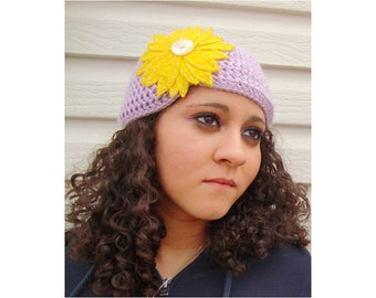 Crochet Flapper Style Cloche Hat in Lavender with Yellow Sunflower - Hipster Boho Hat for Baby / Toddler / Girl / Woman