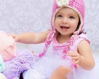 Crochet Flapper Hat with Earflaps and Braids in Powder Pink - crochet winter hats for women - crochet flapper hats for girls
