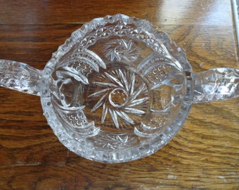 Large Glass Sugar Bowl Clear Pressed Glass Bowl With Two Large Handles