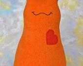 Handmade Slug, Stuffed Animal Plush Doll Art Toy, Hug Me Slug, Personalized Hang Tag, Orange, Red Fleece, 12 inch, Ready-made