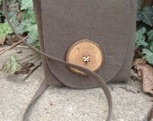 Hemp shoulder pouch, hand dyed Java brown in mini size