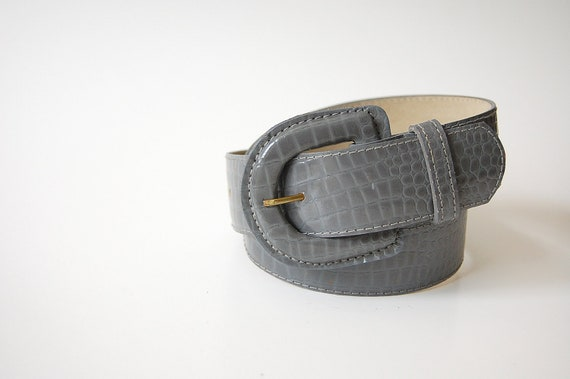 vintage Gray Embossed Leather Belt . Wide . Leather Covered Buckle . s
