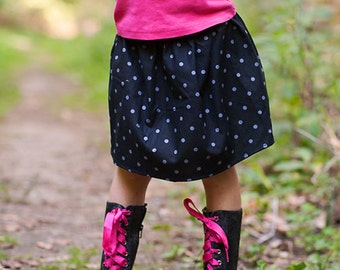 Boutique Girls Skirt. . .  Black with Gray polka dots skirt 2 Toddler - 9 Youth By K Bella Bambino