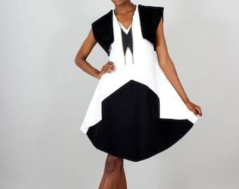Colorblock Winged Dress