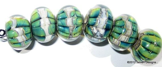 Green Blue Iris Luster, Handmade Lampwork Glass Beads