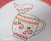 Hand Embroidery PDF Pattern - Tea Time Song - Robin Redbreast