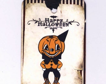 Halloween Tags -  Vintage Style -  Pumpkin Boy - Orange and Black