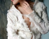 Eco fashion jacket blouse  Nuno felted top in natural white from natural silk gauze and alpaca OOAK