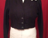 NVL 1940s 48 bust Navy wool evening gown bolero lined in ivory linen PLUS SIZE