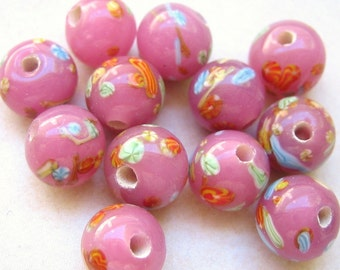 Vintage beads (10) Japanese opaque pink glass millefiori handmade beads 8mm rounds (10)