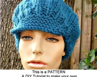 Instant Download Knitting Pattern - Knit Hat Pattern Chunky Newsboy Hat Pattern - Womens Newsboy Hat Pattern Womens Accessories