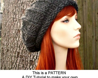 Instant Download Knitting Pattern - Knit Hat Knitting Pattern - Knit Hat Pattern for Chunky Rolled Brim Ribbed Beret Hat Womens