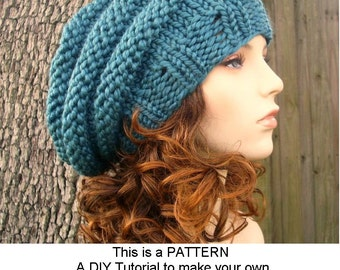 Instant Download Knitting Pattern - Knit Hat Pattern for Original and Oversized Beehive Beret Hat - Womens Accessories