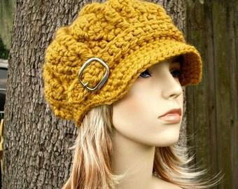 Crochet Hat Womens Hat Newsboy Hat - Oversized Monarch Ribbed Crochet Newsboy Hat in Golden Mustard Yellow Crochet Hat