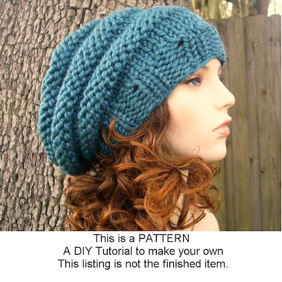 Instant Download Knitting Pattern - Knit Hat Pattern for Original and Oversiz...