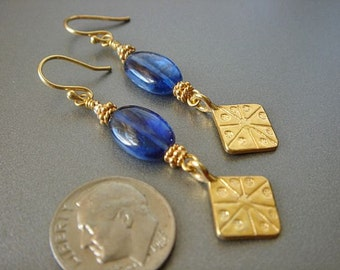 Blue Kyanite Earrings, Dangle Earrings, Gold Earrings, Gemstone Earrings, Gold Charm earrings