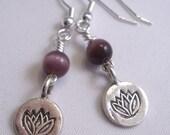 Fine Silver Lotus Charm Earrings