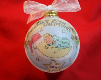 BABY'S FIRST CHRISTMAS Keepsake Ornament for a baby boy, Baby in the Moon, Handpainted, Personalized, Original Design