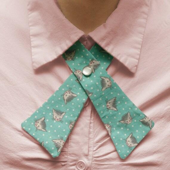Lady Tie - Cats - Retro Teal & Polka Dots
