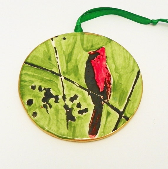 Christmas Ornament Red Cardinal Ceramic on Green