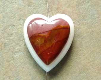 Intarsia Jasper Heart Pendant Focal Bead - 27x32mm