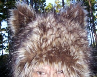 Furry Wolf Hat Ears Blonde Brown Wolf-like Fur Warm Winter Christmas Gift Adult Hat Twilight Costume Hat