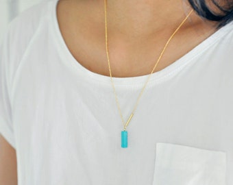 Turquoise minimal necklace - vertical bar necklace - Asymmetrical - natural stone bead - blue aqua necklace - gold fill chain - Ultramarine