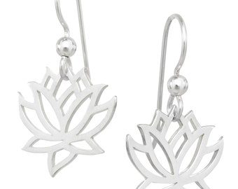 Lotus Flower Earrings, Sterling Silver, Gifts for Her, Graduation, Mothers Day, Yoga Inspired