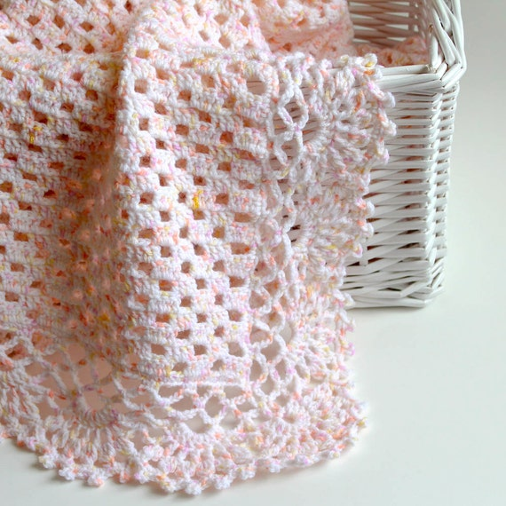 Crochet Baby Blanket . Pink Afghan . Baby Girl Blanket . Keepsake Blankie for Infant . Kids Bedding Decor