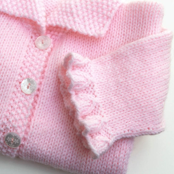 Toddler Pink Cardigan Sweater Girls Hand Knit  Sweater 2 to 3 Years