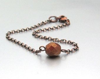 Friendship Bracelet, Copper Beaded Chain, Dainty Gift for Friend, Delicate tiny chain jewelry, minimal gift for her, gift under 10