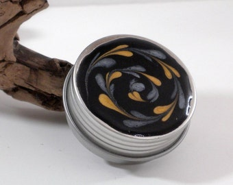 Small Treasure Box - Spiral - Silver and Gold on Black - Jewelry Box - Trinket Box - Pill Box - Handmade