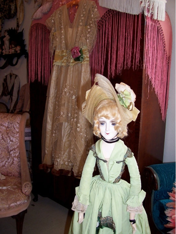 Rare Glass Eyed Boudoir Doll with Ombre ribbons and Metallic  lace